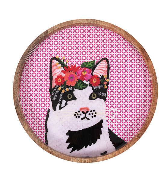 Black / White Cat Tray - Multicolour