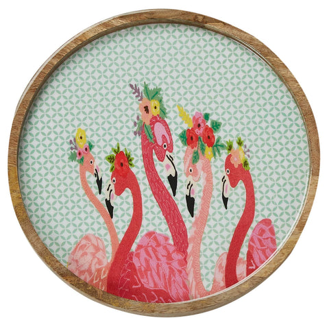 Flamingo Fiesta Round Tray - Multicolour