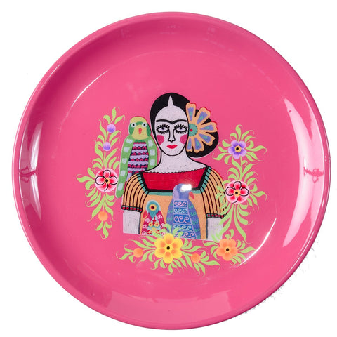 Frida Tray - Three Parrots - Fuchsia