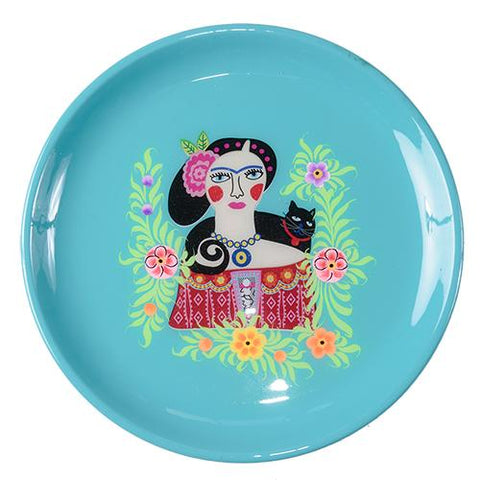 Frida Tray - Black Cat - Turquoise
