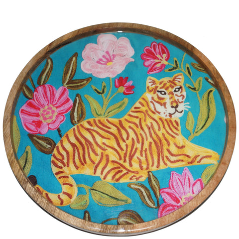 Tiger Tray - Sitting - Turquoise Multi