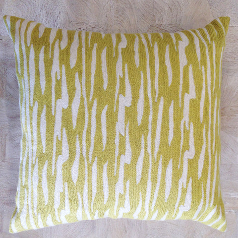 Chainstitch Broken Stripe Cushion - Avocado / White