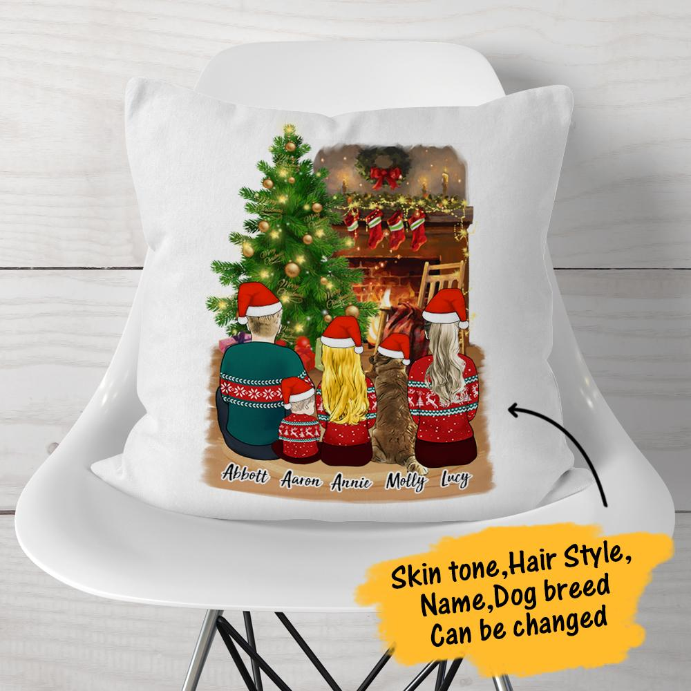 Copy of Copy of Christmas Family Cartoon Personalized Pillow Case with Zipper Printed Single Sides - Test