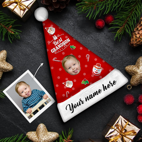 Plush Velvet My Face & Name Personalized Best GrandSon Santa Hat - For Man, Woman, Kid