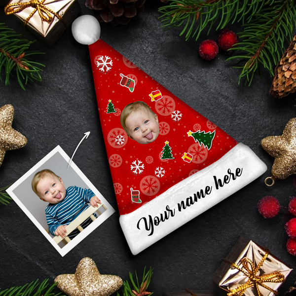 Plush Velvet My Face & Name Personalized Christmas Hat - For Man, Woman, Kid