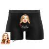 Black Custom Men's Face And Name Colorful Boxer Shorts