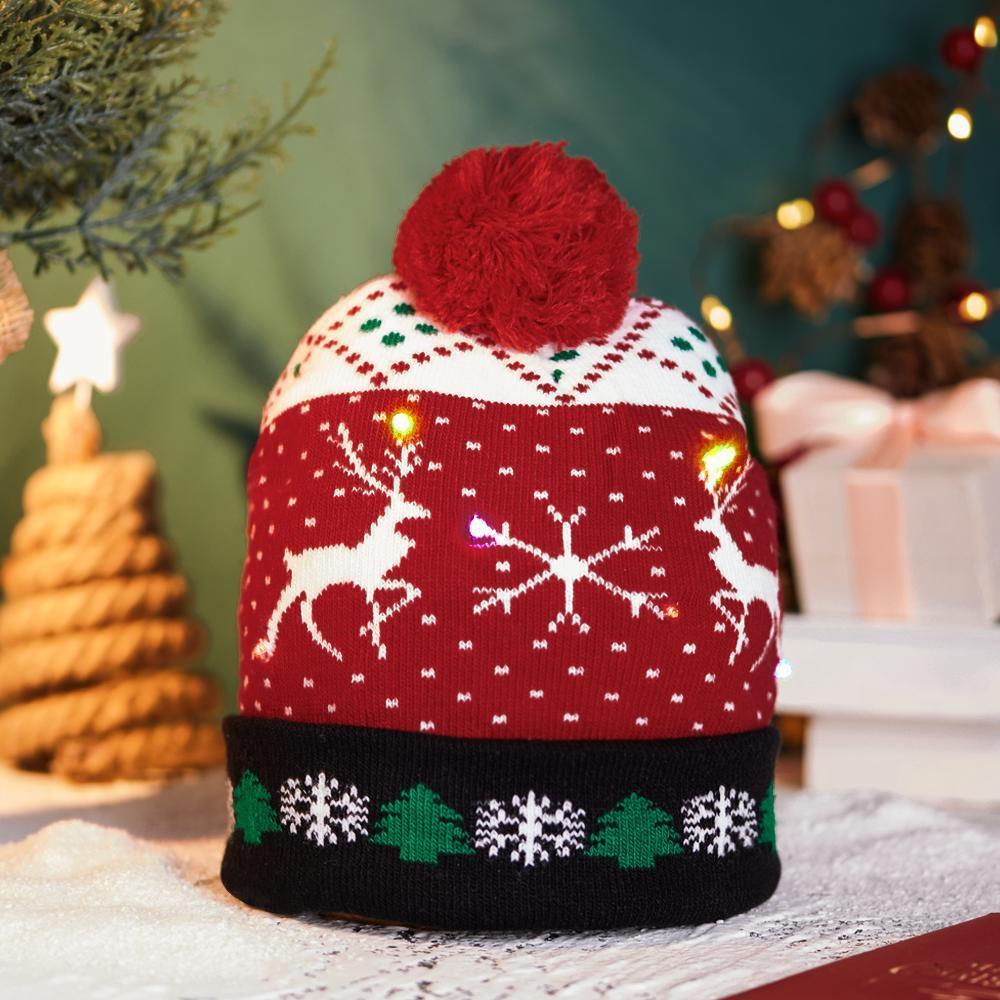 LED Christmas Hat Kids Xmas Hats Beanie Colorful Santa Hats - UNIVERSAL SIZE