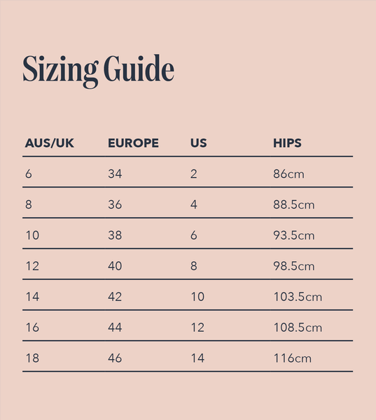 Period Undies sizing chart graphic form Wunderthings - leak-proof Incontinence and menstrual underwear sustainably made from recycled ocean waste.