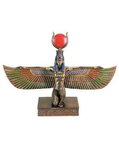 Winged Isis Egyptian Bronze Resin Statue