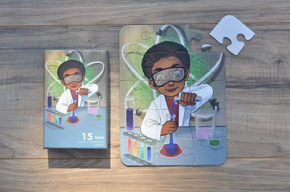 Small Chemistry Boy Puzzle (6in x 8in w/15 pieces)