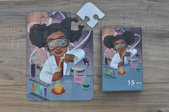 Small Chemistry Girl Puzzle (6in x 8in w/ 15 pieces)