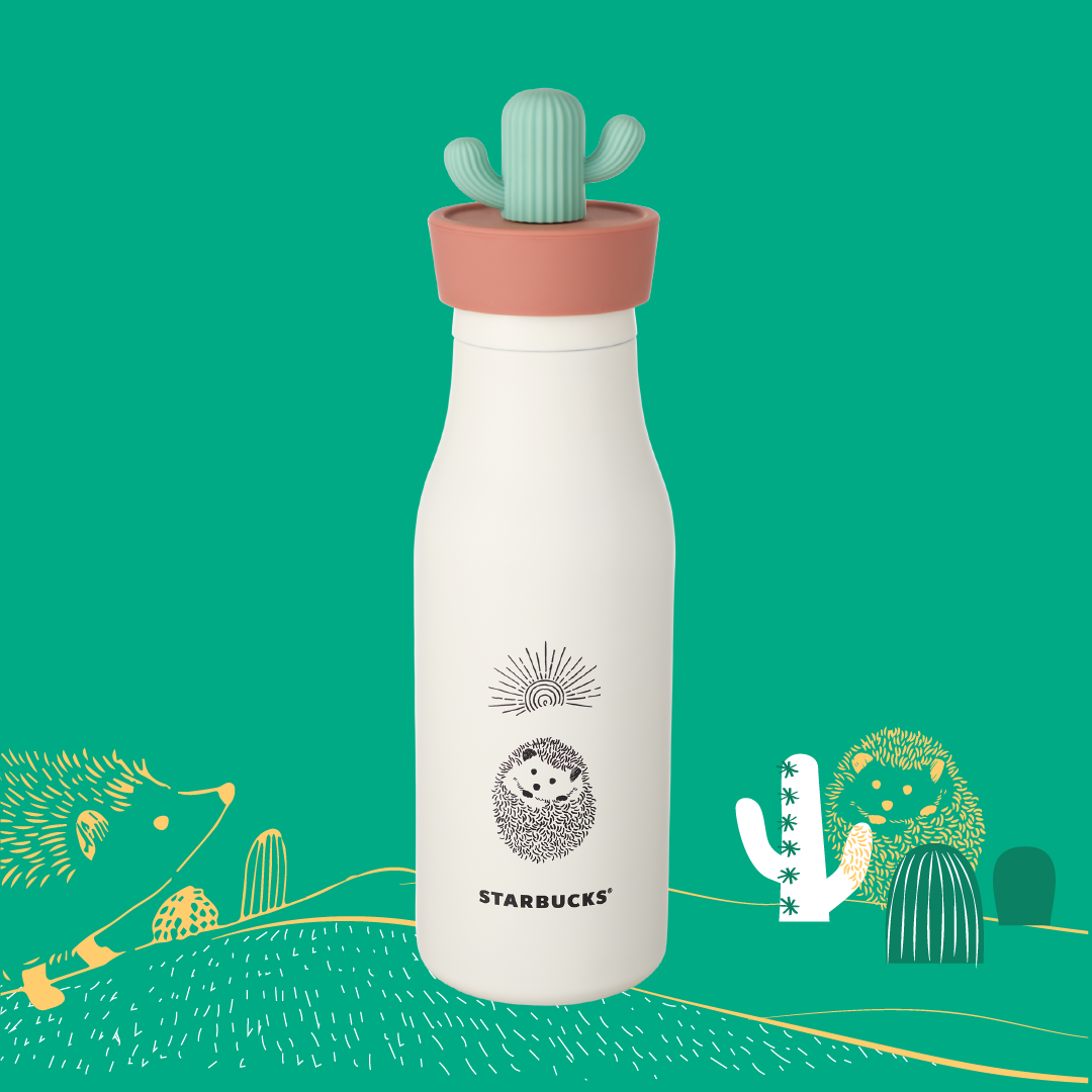 Hedgehog Stainless Steel Water Bottle with Cactus Lid 16oz 小刺蝟與仙人掌不鏽鋼水樽