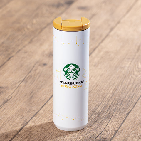 16oz Starbucks HK 20th Anniversary White Stainless Steel Tumbler