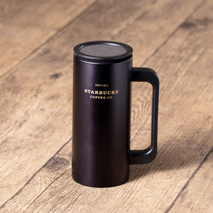 12oz Matte Black Stainless Steel Tumbler with Handle