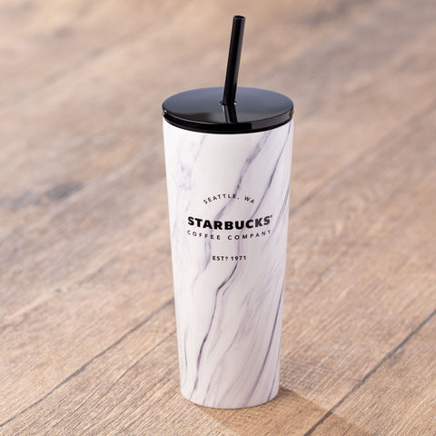 16oz White Minimalist Marble Stainless Steel Cold Cup