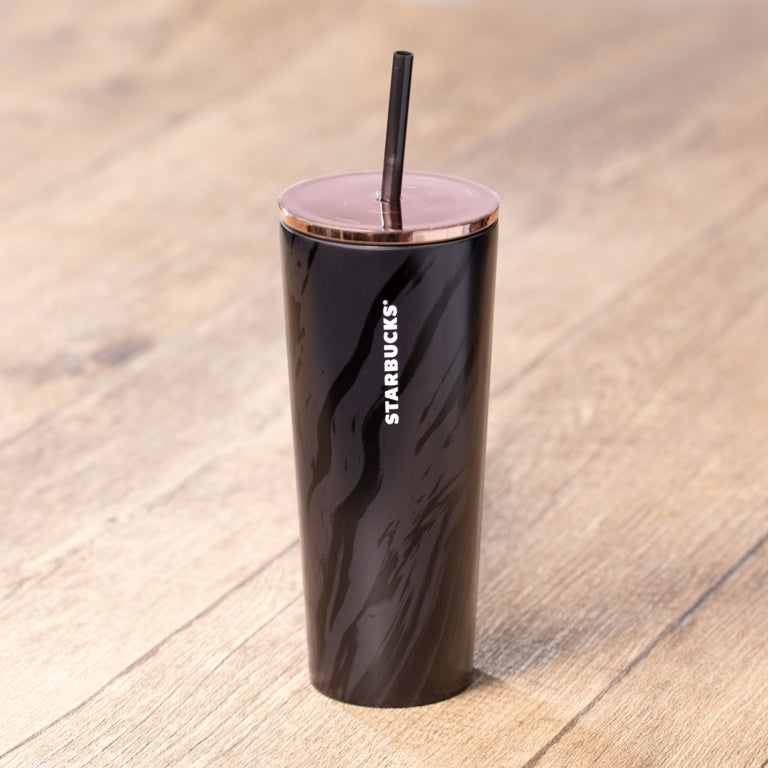 16oz Black & Rose Gold Minimalist Marble Stainless Steel Cold Cup