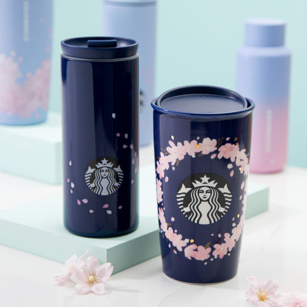 Spring Navy Blue Floating Petal Stainless Steel Tumbler 12oz 櫻花漫天不鏽鋼隨行杯