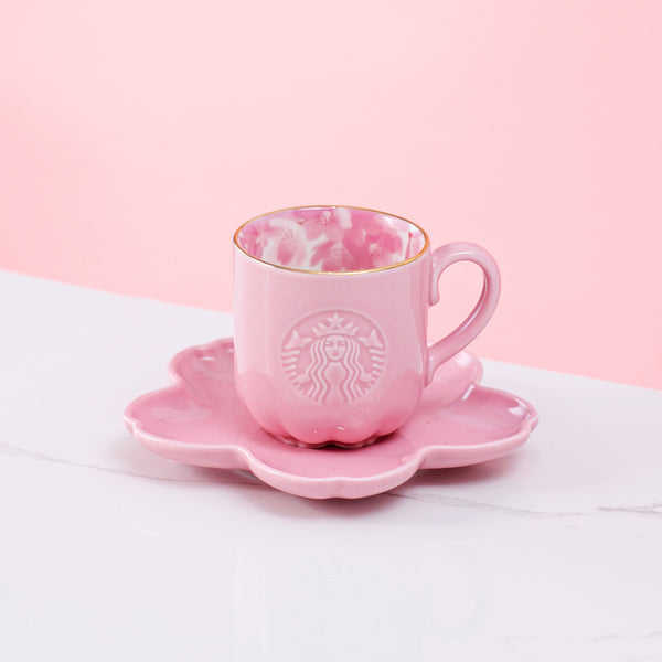 Spring21 Pink Blossom Mug with Saucer Set 3oz 粉櫻色花瓣咖啡杯碟組合