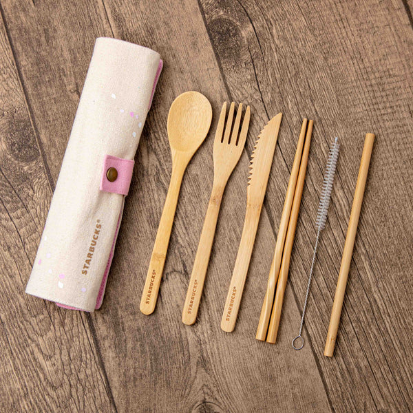 Bamboo Foodware with Pink Carrying Pouch 竹餐具6件套裝連粉紅便攜袋