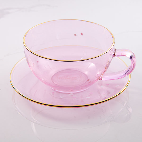 Spring21 Falling Petal Glass Mug with Saucer Set 8oz 櫻花粉晶玻璃杯碟組合