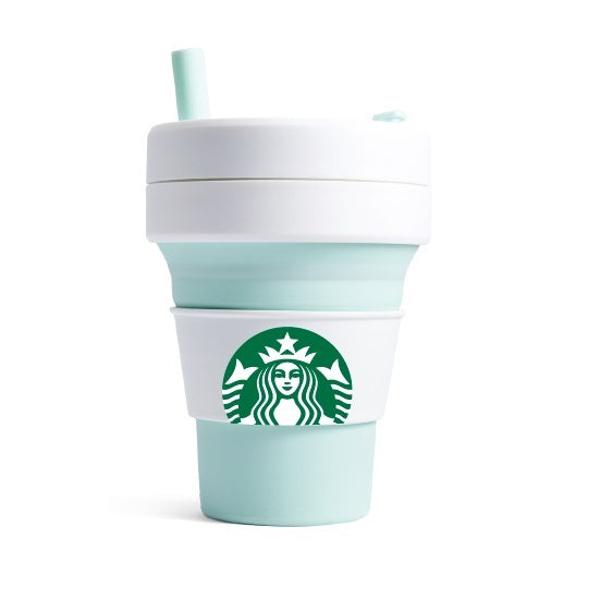 16oz Stojo + Starbucks Mint Collapsible Cup