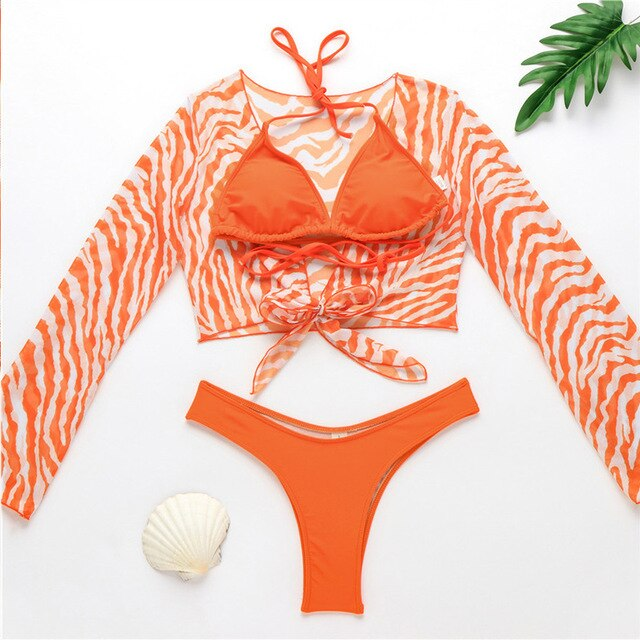 Sexy strip bikini set 3-piece