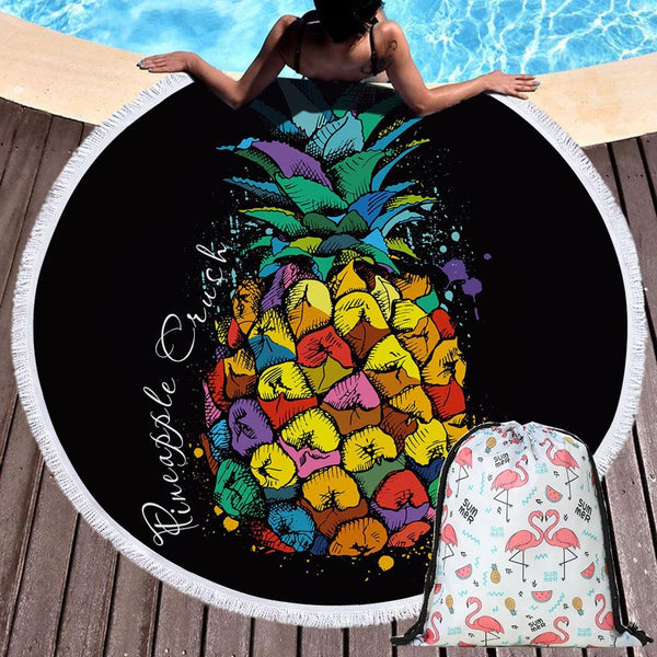 Pineapple Round Beach Towel Microfiber