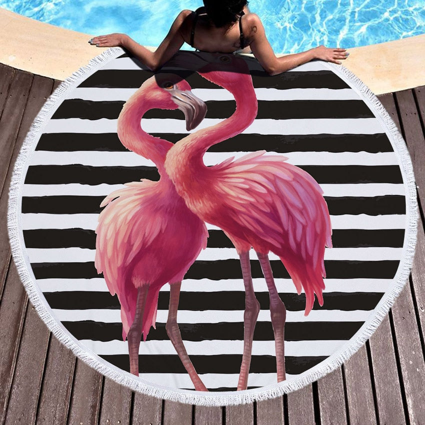 Beach Towel With Tassel Floral Flamingo