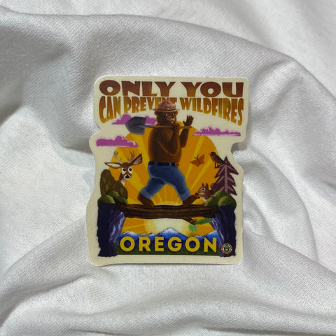 Only You Can Prevent Wildfires Smokey Bear Vinyl Sticker
