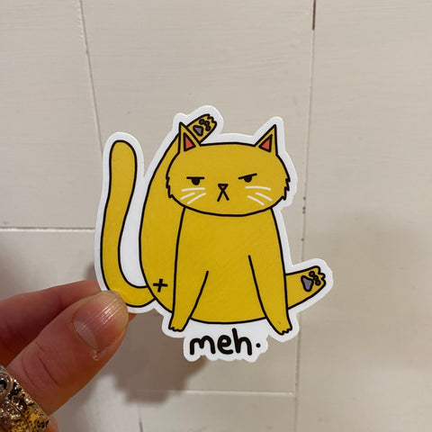"""Meh"" Cat Vinyl Mood Sticker"