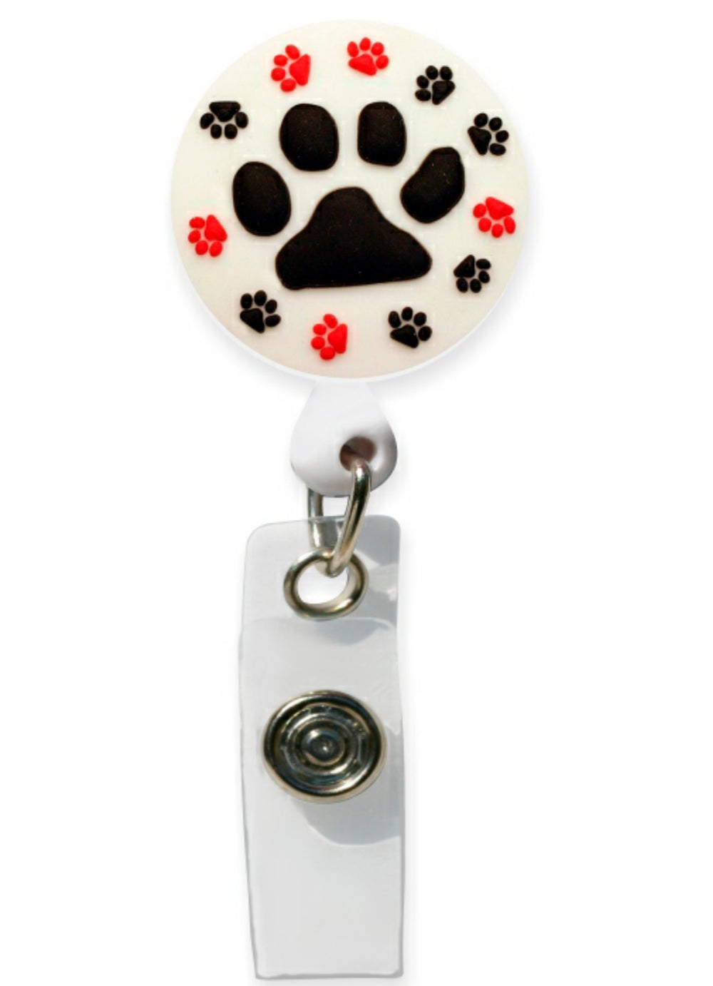 3D Rubber Retractable Badge Reel – Paw Prints