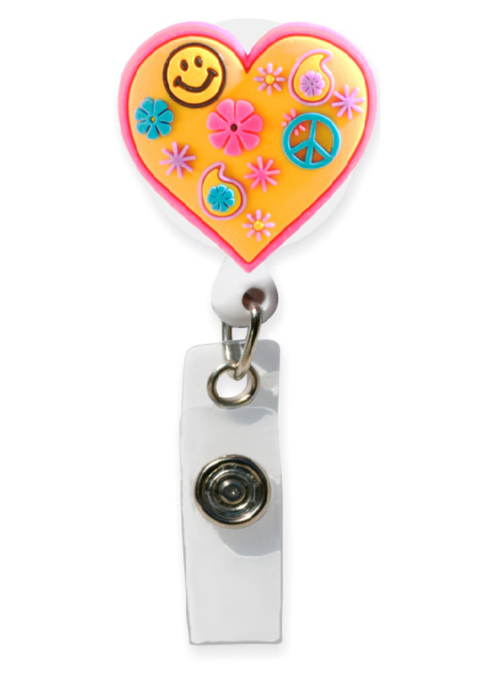3D Rubber Retractable Badge Reel – Retro Heart