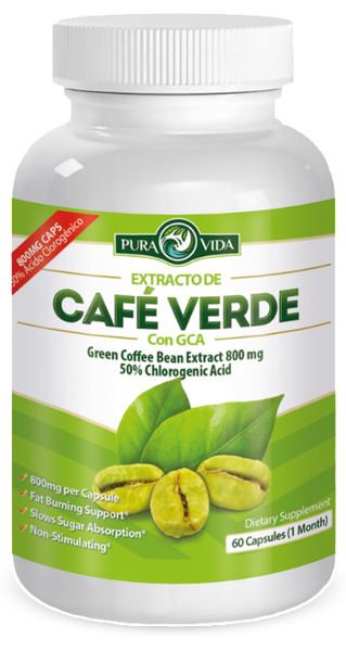 Green Coffee Bean Extract with GCA | Extracto de Café Verde con GCA: Pure Natural Appetite Suppressant — 50% Chlorogenic Acid. 60 Veggie Capsules of 800mg