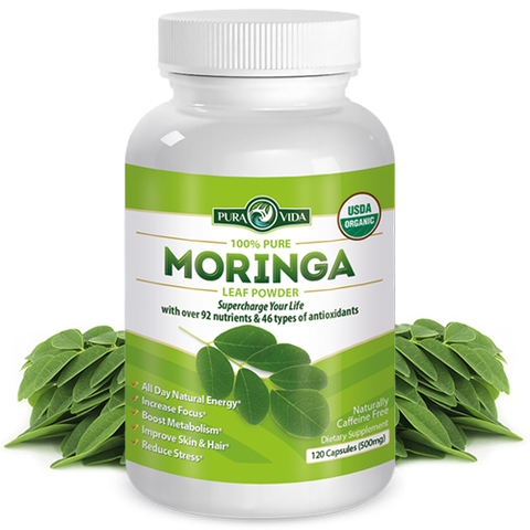 Moringa Leaf Capsules - 100% Pure USDA Certified Organic. 120 Count (500mg Capsules) 100% Pure Moringa Oleifera Leaf Powder In 500mg Capsules - Single Origin Cultivation, Processing And Packaging From Nicaragua