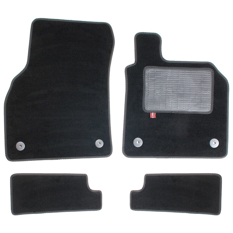 Audi TT 2014 onwards over mat set with fixings shown in black automotive carpet