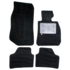 BMW X1 2010-15 over mat set shown in standard black automotive carpet
