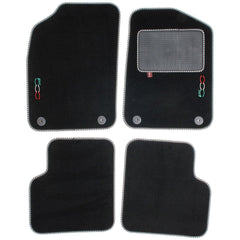 Fiat 500 2012 onwards over mat set with Fiat 500 logo and fixings shown in standard black automotive carpet