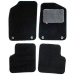 Fiat 500 2012 onwards over mat set with fixings shown in standard black automotive carpet