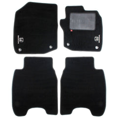 Honda Civic 2012-17 over mat set with Honda logo and fixings shown in standard black automotive carpet