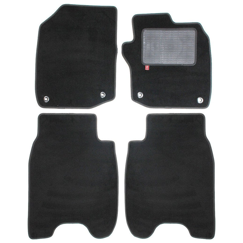 Honda Civic 2012-17 over mat set with fixings shown in standard black automotive carpet