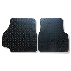Land Rover Defender 1990 to 2010 over mat set shown in black rubber with tread plate pattern