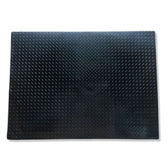 Land Rover Defender 1990 to 2010 boot mat shown in black rubber with tread plate pattern