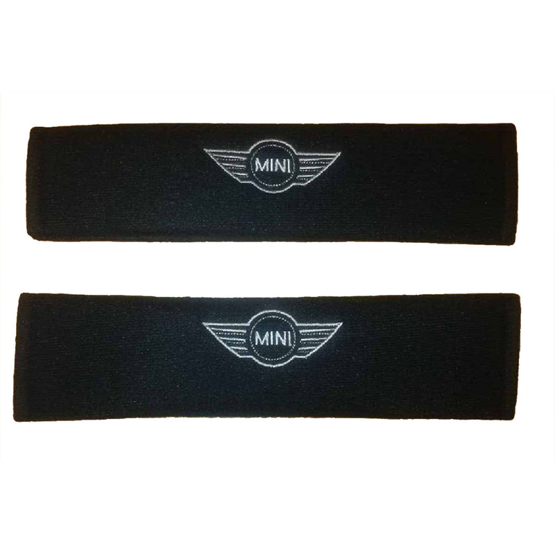 mini logo on padded seat belt covers
