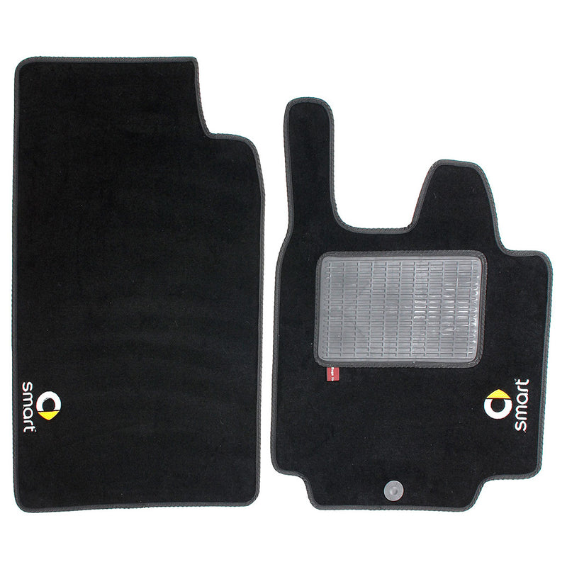 Smart Fortwo  2007-14  over mat set with Smart logo and fixings shown in standard black automotive carpet