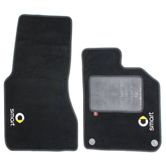 Smart Fortwo Coupe 2015 onwards over mat set with Smart logo shown in standard black automotive carpet