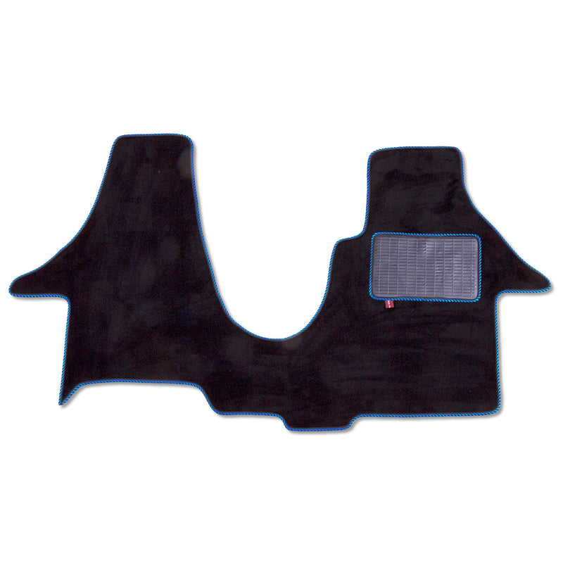 Volkswagen T5 2 plus 1 swivel seat cab mat shown in black automotive carpet