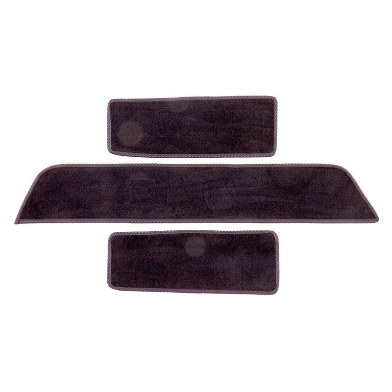 Volkswagen T5 side step mats shown in black automotive carpet