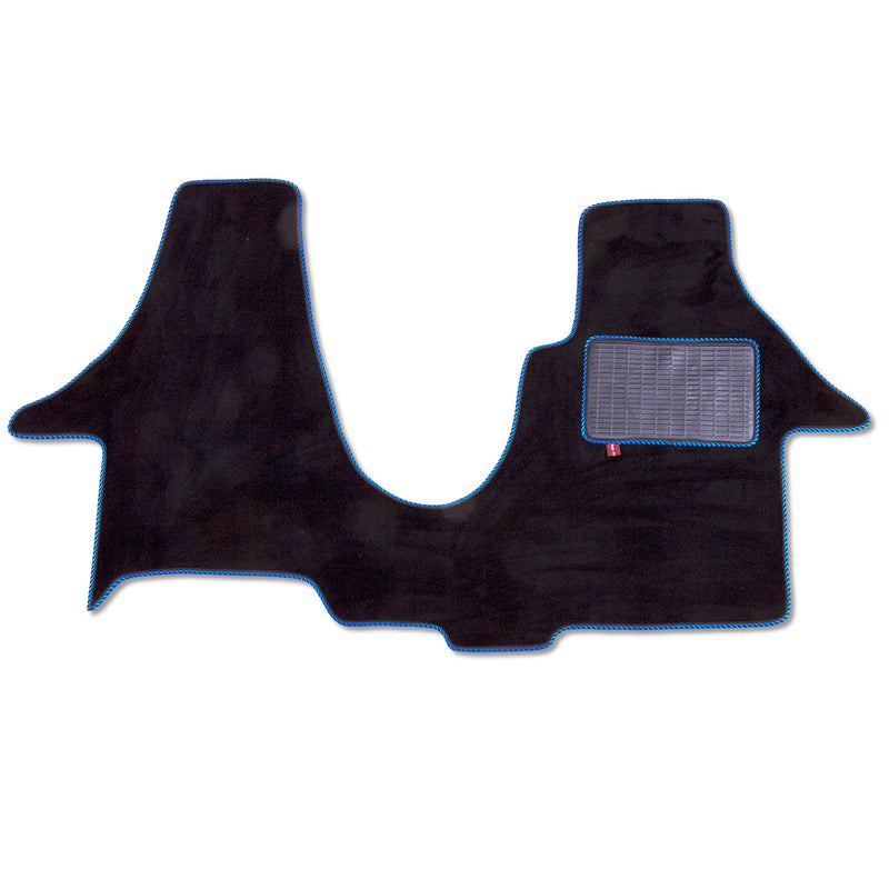 Volkswagen T6 2 plus 1 swivel seat cab mat shown in black automotive carpet