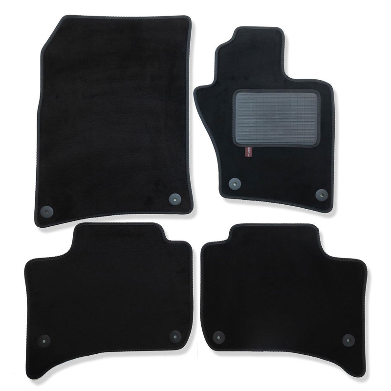 Volkswagen Touareg 2010 to 2018 over mat set shown in black automotive carpet