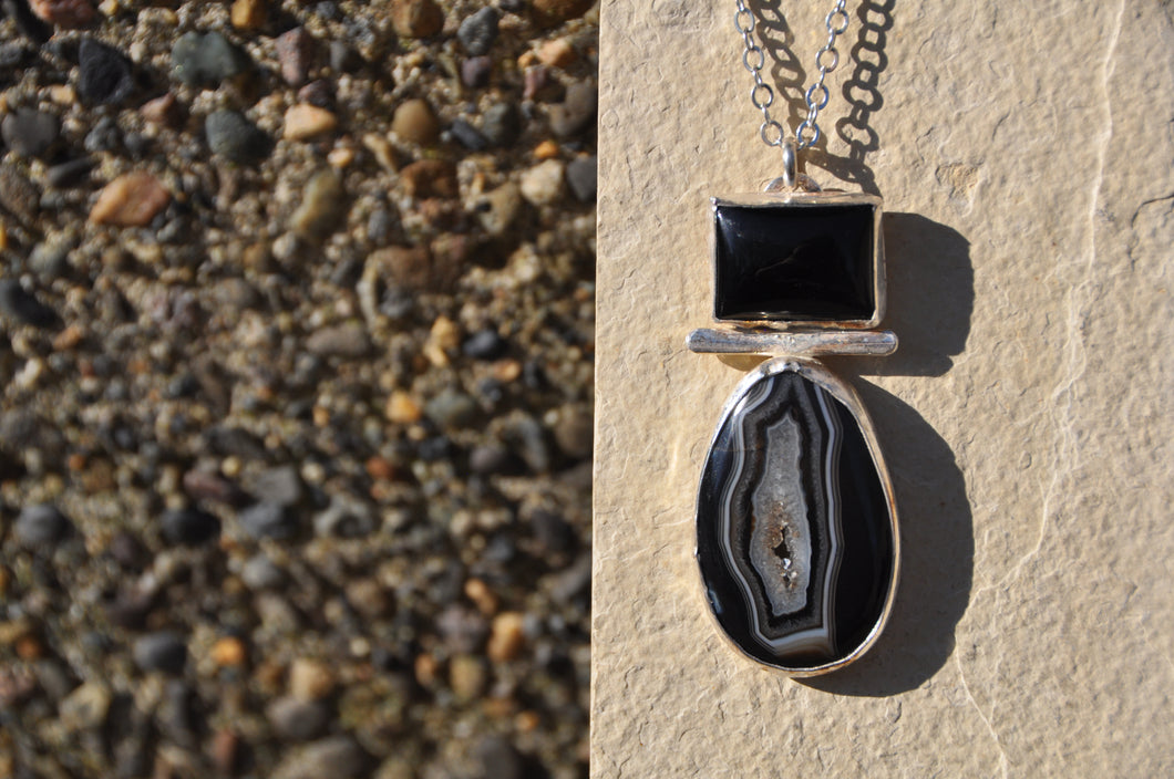 Agate and Onyx Sterling Silver Pendant